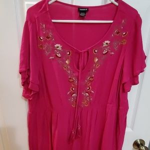 Torrid Pink embroidered empire waist blouse